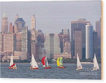 Sailboats On The Hudson I Wood Print by Clarence Holmes