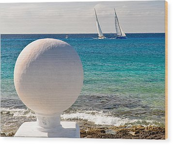 Wood Print featuring the photograph Sailboats Racing In Cozumel by Mitchell R Grosky