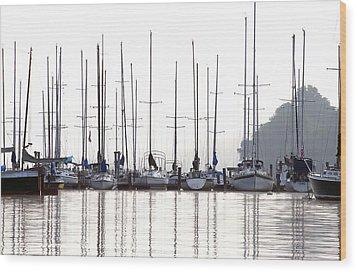 Sailboats Reflected Wood Print