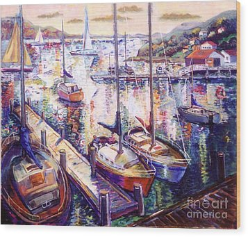 Sailboats Wood Print by Stan Esson