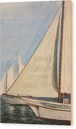 Sailboats Wood Print by Stan Tenney