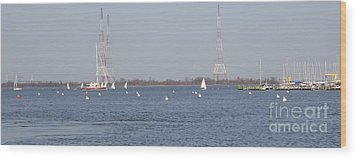 Sailboats With Chesapeake Bay Bridge Beyond Wood Print by Christina Verdgeline