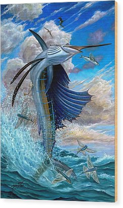 Sailfish And Flying Fish Wood Print by Terry Fox