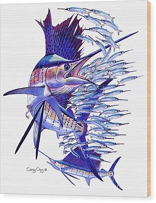 Sailfish Ballyhoo Wood Print by Carey Chen