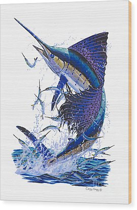 Sailfish Wood Print by Carey Chen
