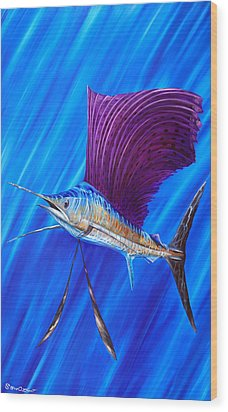 Sailfish Wood Print by Steve Ozment