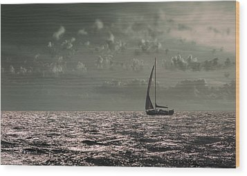 Sailing Wood Print by Akos Kozari
