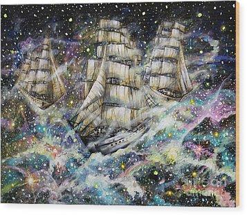 Sailing Among The Stars Wood Print