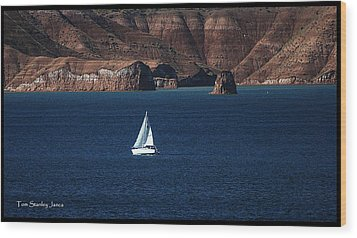 Sailing At Roosevelt Lake On The Blue Water Wood Print by Tom Janca