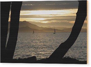 Sailing At Sunset On The Bay Wood Print by Robert Woodward