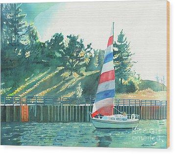 Sailing Back To Port Wood Print by LeAnne Sowa
