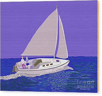Sailing Blue Ocean Wood Print by Fred Jinkins