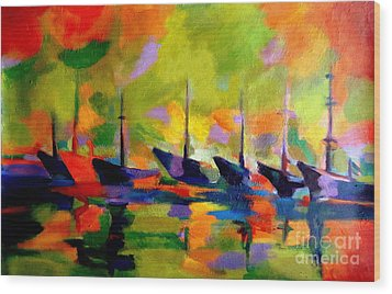 Sailing Boats By The River Wood Print by Helena Wierzbicki