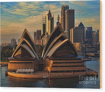 sailing by the Opera House Wood Print