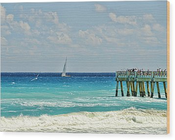 Sailing By The Pier Wood Print by Don Durfee