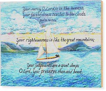 Sailing  Wood Print by Catherine Saldana