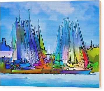 Sailing Club Abstract Wood Print by Pamela Blizzard