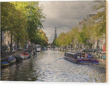 Sailing In Amsterdam Wood Print
