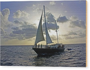 Sailing In Aruba Wood Print by Suzanne Stout
