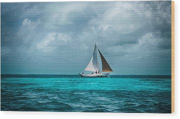 Sailing In Blue Belize Wood Print
