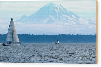 Sailing In Mt. Rainier's Shadow Wood Print