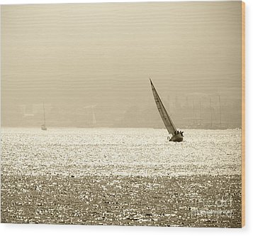 Sailing In San Diego Harbor Wood Print by Artist and Photographer Laura Wrede