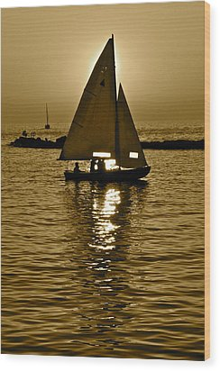 Sailing In Sepia Wood Print by Frozen in Time Fine Art Photography