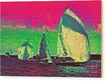 Wood Print featuring the photograph Sailing In Shimmer by Julie Lueders