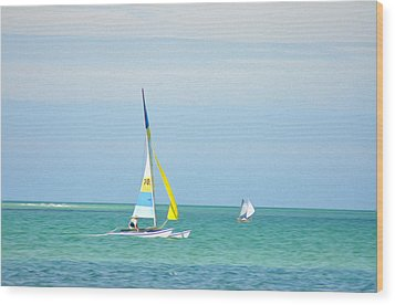 Sailing In The Gulf Of Mexico Wood Print by Bill Cannon