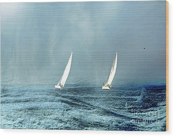 Sailing Into The Unknown Wood Print by Andrea Kollo