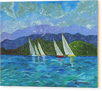 Wood Print featuring the painting Sailing by Laura Forde