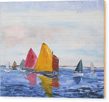 Sailing Nantucket Sound Wood Print by Michael Helfen