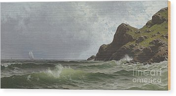 Sailing Off The Coast Wood Print by Alfred Thompson Bricher