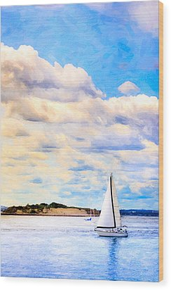 Sailing On A Beautiful Day In Boston Harbor Wood Print by Mark E Tisdale