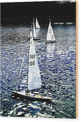 Sailing On Blue Wood Print by Steve Taylor