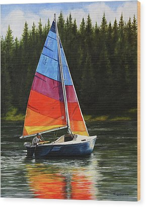 Sailing On Flathead Wood Print