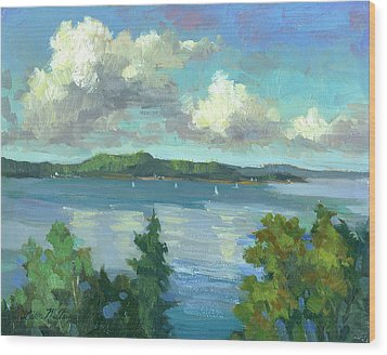 Sailing On Puget Sound Wood Print by Diane McClary