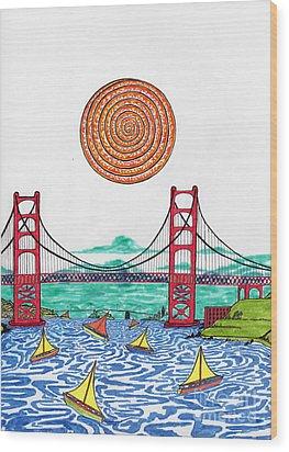 Sailing On San Francisco Bay Wood Print by Michael Friend