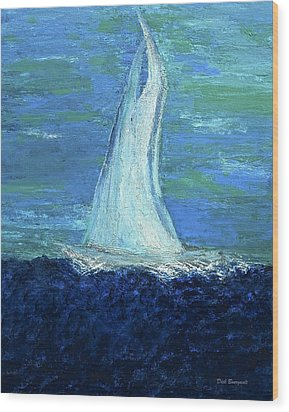 Sailing On The Blue Wood Print by Dick Bourgault