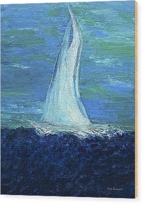Sailing On The Blue Wood Print