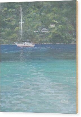 Sailing On The Caribbean Wood Print