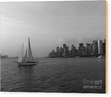 Sailing On The Hudson Wood Print by Avis  Noelle