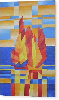 Wood Print featuring the painting Sailing On The Seven Seas So Blue by Tracey Harrington-Simpson