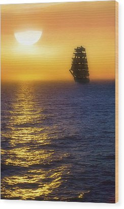 Sailing Out Of The Fog At Sunrise Wood Print by Jason Politte