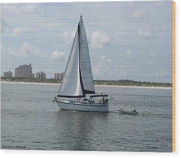 Sailing Ponce Inlet Florida Wood Print by Brian Johnson