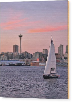 Sailing Puget Sound Wood Print by Adam Romanowicz