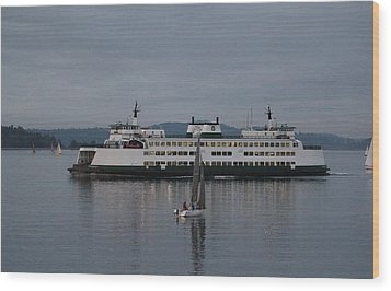 Wood Print featuring the photograph Sailing Regatta And Issaquah Ferry by E Faithe Lester