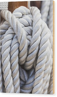 Wood Print featuring the photograph Sailing Rope 1 by Leigh Anne Meeks