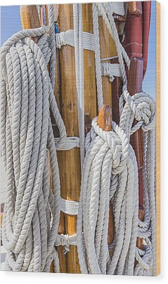 Wood Print featuring the photograph Sailing Rope 4 by Leigh Anne Meeks
