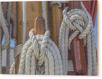 Wood Print featuring the photograph Sailing Rope 5 by Leigh Anne Meeks